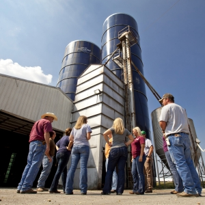 AG students in front of the farm silos