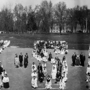 Archive photo of students forming school letters