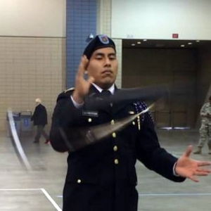 EKU Cadet practices drill moves